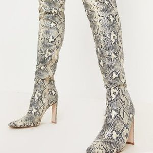 PrettyLittleThing Shoes - NEW PLT Snake Over the Knee Boots Sz 6